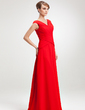 A-Line/Princess V-neck Floor-Length Chiffon Mother of the Bride Dress With Ruffle (008006264)