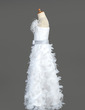 A-Line/Princess Floor-length Flower Girl Dress - Organza/Charmeuse Sleeveless With Sash/Feather/Flower(s)/Bow(s) (010005781)