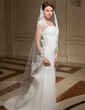 One-tier Cathedral Bridal Veils With Lace Applique Edge (006024462)