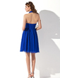 A-Line/Princess Halter Knee-Length Chiffon Bridesmaid Dress With Ruffle (007000754)