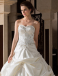 Ball-Gown Sweetheart Cathedral Train Satin Wedding Dress With Embroidered Ruffle Beading (002033765)