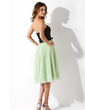 A-Line/Princess Strapless Knee-Length Chiffon Charmeuse Bridesmaid Dress With Bow(s) (007001074)