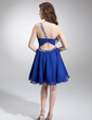 A-Line/Princess One-Shoulder Knee-Length Chiffon Homecoming Dress With Ruffle Beading Sequins (022008944)
