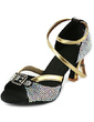 Women's Satin Heels Sandals Latin Ballroom Salsa Wedding Party With Rhinestone Ankle Strap Dance Shoes (053018631)