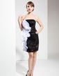 Wąska Bez ramiączek Krótka/Mini Charmeuse Sequined Suknia Koktajlowa Z Żabot (016008699)