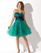 Empire Sweetheart Knee-Length Charmeuse Organza Homecoming Dress With Ruffle Sash Flower(s) (022021006)