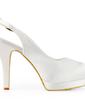 Saten Külah Topuk Platform Topuktan Bağlı Bağcıksız Düğün Ayakkabıları Ile Toka (047011884)