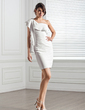 Sheath/Column One-Shoulder Short/Mini Chiffon Cocktail Dress With Cascading Ruffles (016020752)