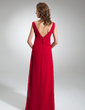 Empire V-neck Floor-Length Chiffon Bridesmaid Dress With Ruffle Bow(s) (007000829)