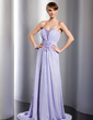 A-Line/Princess Sweetheart Watteau Train Chiffon Evening Dress With Ruffle Beading Split Front (017014791)