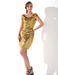 Sheath/Column Scoop Neck Short/Mini Sequined Cocktail Dress (016008278)