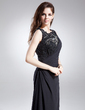 Sheath/Column Scoop Neck Floor-Length Chiffon Mother of the Bride Dress With Lace Beading Sequins (008015876)