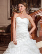 A-Line/Princess Sweetheart Chapel Train Satin Organza Wedding Dress With Beading Sequins Cascading Ruffles (002012666)