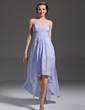 Çan/Prenses Kalp Kesimli Asimetrik Chiffon Lace Mezunlar Gecesi Elbisesi Ile Büzgü (022008990)