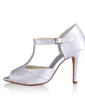 Women's Silk Like Satin Cone Heel Peep Toe Sandals With Buckle Rhinestone (047026749)