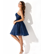 A-Line/Princess Strapless Knee-Length Organza Sequined Homecoming Dress With Ruffle (022008150)