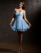 A-Line/Princess Sweetheart Short/Mini Chiffon Homecoming Dress With Ruffle Beading (022010872)