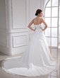 Ball-Gown Sweetheart Chapel Train Chiffon Wedding Dress With Ruffle Beading Appliques Lace Sequins (002012914)