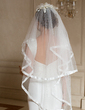 Two-tier Fingertip Bridal Veils With Ribbon Edge (006024464)