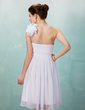 Yüksek Bel Tek-Omuzlu Diz Hizası Chiffon Tulle Mezunlar Gecesi Elbisesi Ile Büzgü Boncuklama Çiçek(ler) (022009974)