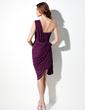 Sheath/Column One-Shoulder Asymmetrical Chiffon Cocktail Dress With Beading Cascading Ruffles (016021245)