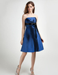 Empire Strapless Knee-Length Taffeta Bridesmaid Dress With Ruffle Sash Bow(s) (022015815)