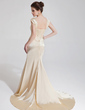 Trumpet/Mermaid Sweetheart Court Train Charmeuse Wedding Dress With Ruffle Beading Sequins (002012137)