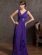 A-Line/Princess V-neck Floor-Length Chiffon Mother of the Bride Dress With Beading Cascading Ruffles (008014868)