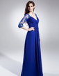 A-Line/Princess V-neck Floor-Length Chiffon Mother of the Bride Dress With Ruffle Lace Beading (008006046)