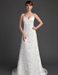 A-Line/Princess Sweetheart Sweep Train Lace Wedding Dress With Beading (002000220)