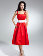 A-Line/Princess Square Neckline Knee-Length Satin Homecoming Dress With Ruffle Sash (022014944)