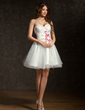 A-Line/Princess Sweetheart Short/Mini Tulle Homecoming Dress With Ruffle Beading Appliques Lace Flower(s) (022011444)