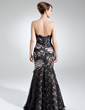 Trumpet/Mermaid Sweetheart Floor-Length Charmeuse Lace Mother of the Bride Dress With Ruffle (008005942)