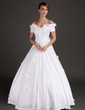 Ball-Gown Off-the-Shoulder Floor-Length Satin Wedding Dress With Beading Appliques Lace Flower(s) (002015489)