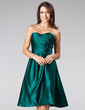 A-Line/Princess Sweetheart Knee-Length Satin Bridesmaid Dress With Ruffle Flower(s) (007013072)