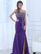 Trumpet/Mermaid Sweetheart Sweep Train Chiffon Evening Dress With Ruffle Beading Split Front (017017363)