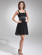 Empire Square Neckline Short/Mini Chiffon Homecoming Dress With Ruffle Beading (022020981)