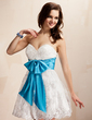 Empire Sweetheart Short/Mini Lace Homecoming Dress With Sash Beading Bow(s) (022019100)