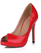 Patent Leather Stiletto Heel Sandals Platform Peep Toe shoes (085020590)