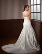 A-Line/Princess Strapless Chapel Train Satin Wedding Dress With Ruffle Appliques Lace Sequins (002004785)