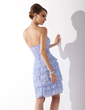 Sheath/Column Sweetheart Knee-Length Chiffon Homecoming Dress With Ruffle Lace Bow(s) (022009159)
