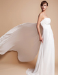 Empire Strapless Watteau Train Chiffon Wedding Dress With Ruffle Beading (002000563)