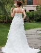 Empire V-neck Chapel Train Satin Organza Wedding Dress With Beading Flower(s) Cascading Ruffles (002000620)