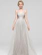 A-Line/Princess V-neck Floor-Length Tulle Prom Dress (018112696)