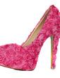 Women's Cloth Stiletto Heel Closed Toe Platform Pumps With Flower (047026674)