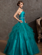 Ball-Gown Strapless Floor-Length Tulle Quinceanera Dress With Beading Cascading Ruffles (021014889)