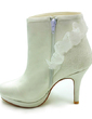 Women's Satin Cone Heel Boots Closed Toe Platform Pumps With Stitching Lace (047017790)