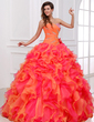 Ball-Gown Sweetheart Floor-Length Organza Quinceanera Dress With Beading Cascading Ruffles (021017529)
