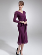 Trumpet/Mermaid V-neck Knee-Length Chiffon Mother of the Bride Dress With Ruffle Bow(s) (008016757)