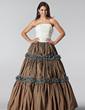 Balo Elbisesi Askısız Uzun Etekli Tafta Bağcık Quinceanera (15 Yaş) Elbisesi Ile Büzgü (021005220)